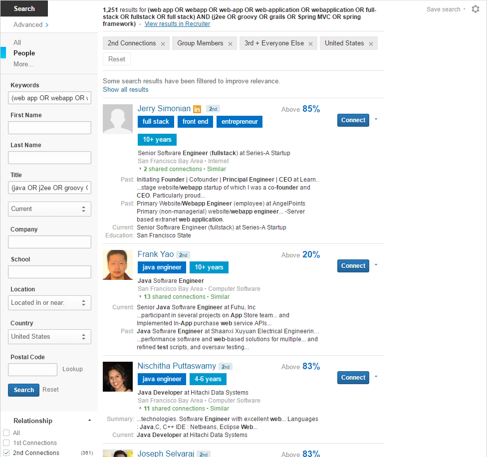 Hiretual Augmented LinkedIn Boolean Search Results